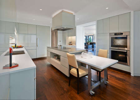 Penthouse Contemporary Kitchen with Movable Table